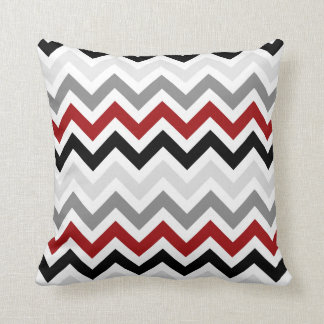 Dark Red Black Gray Chevron Zigzag Pattern Throw Pillow