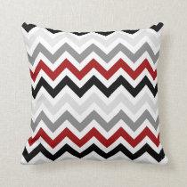 Dark Red Black Gray Chevron Zigzag Pattern Throw Pillow
