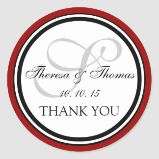Dark Red Black Monogram S Wedding Thank You Round Stickers