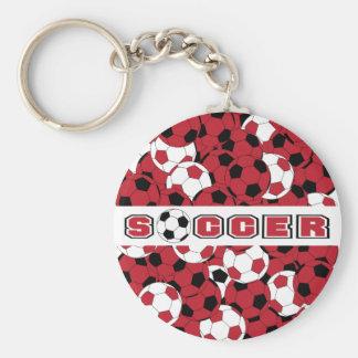 Dark Red, Black & White Personalize Soccer Ball Basic Round Button Keychain