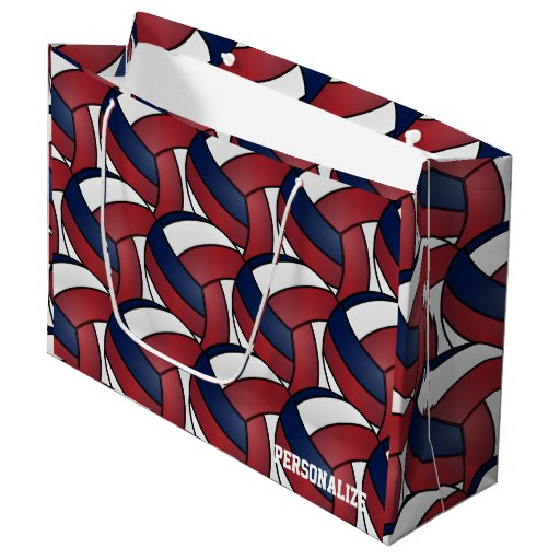 Dark Red, Blue and, White Volleyball 2 Large Gift Bag