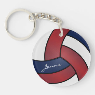 Dark Red, Blue and White  Volleyball Design Keychain