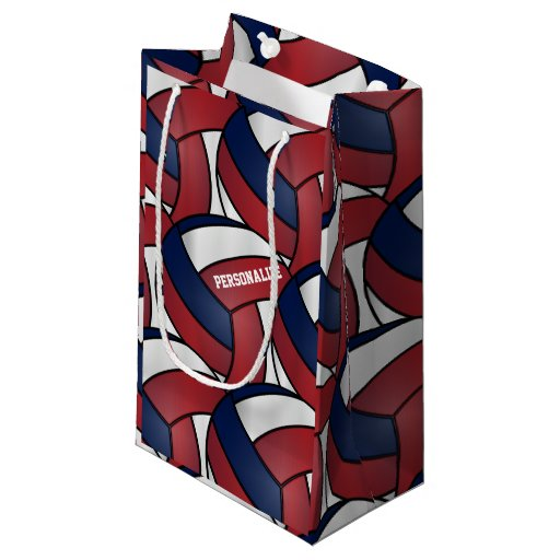 Dark Red, Blue and White Volleyballs Small Gift Bag