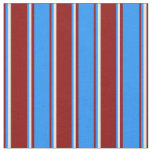 [ Thumbnail: Dark Red, Blue & Light Yellow Colored Pattern Fabric ]