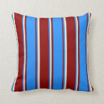 [ Thumbnail: Dark Red, Blue & Light Yellow Colored Pattern Throw Pillow ]