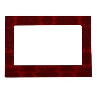 dark red bold damask design magnetic picture frame