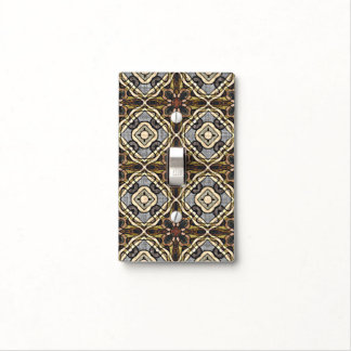 Dark Red Brown Gray Ochre Hip Ornate Art Motif Light Switch Cover