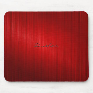 Dark Red Brushed Metal Look Mouse Pad