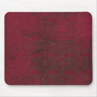Dark Red Burgundy Grunge Pattern Mouse Pad