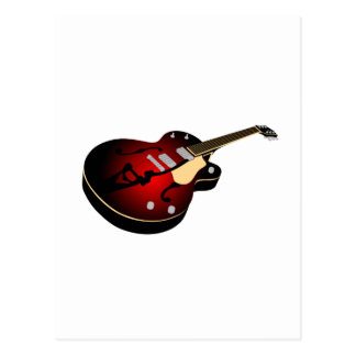 Dark Red Burst Guitar Postcard