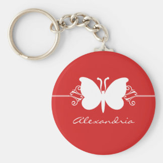 Dark Red Butterfly Swirls Keychain
