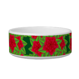 Dark Red Camellias and Green Leaves Bowl