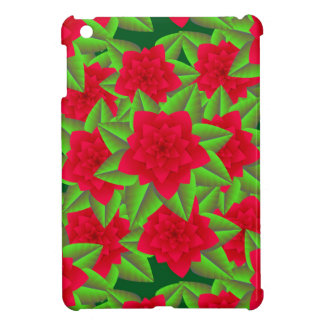 Dark Red Camellias and Green Leaves Cover For The iPad Mini