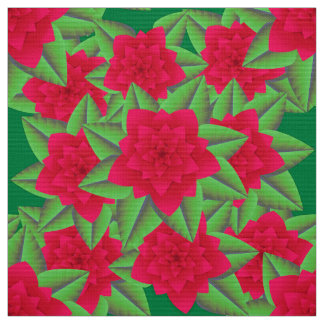 Dark Red Camellias and Green Leaves Fabric