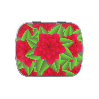Dark Red Camellias and Green Leaves Jelly Belly Tin
