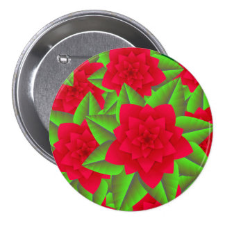 Dark Red Camellias and Green Leaves Pinback Button