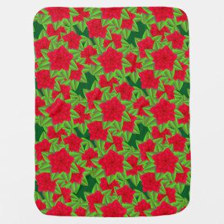 Dark Red Camellias and Green Leaves Stroller Blanket