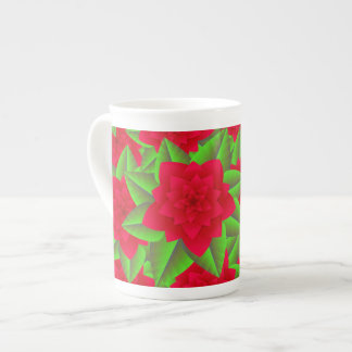 Dark Red Camellias and Green Leaves Tea Cup