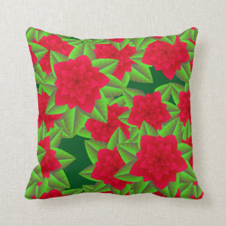 Dark Red Camellias and Green Leaves Throw Pillow