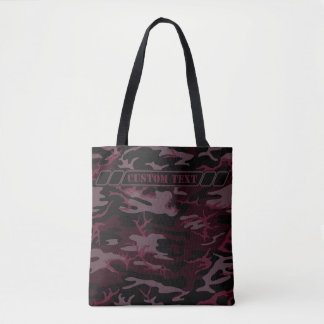 Dark Red Camo Tote w/ Custom Text