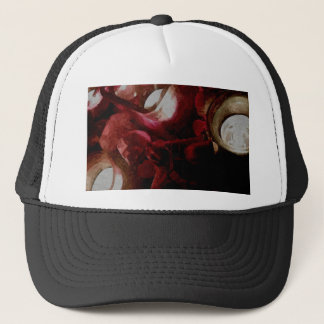 Dark Red Candlelight Oil Painting Trucker Hat