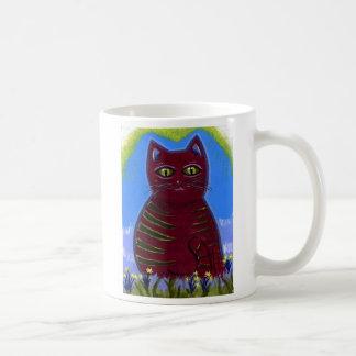 Dark Red Cat Coffee Mug