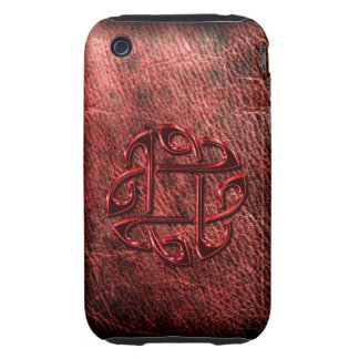 Dark red celtic knot on leather iPhone 3 tough cases