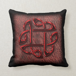 Dark red celtic knot on leather throw pillow