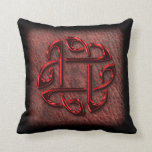Dark red celtic knot on leather throw pillows