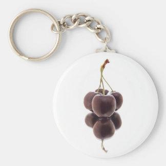 dark red cherry cluster on white mirror keychain