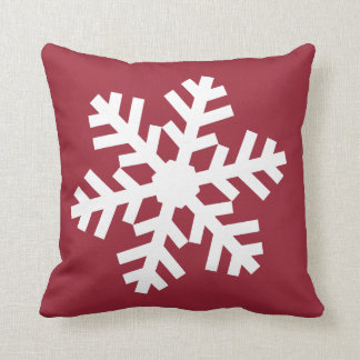 Dark Red Christmas Snowflake Throw Pillow