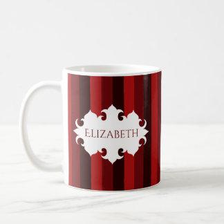 Dark red Christmas striped name Coffee Mug