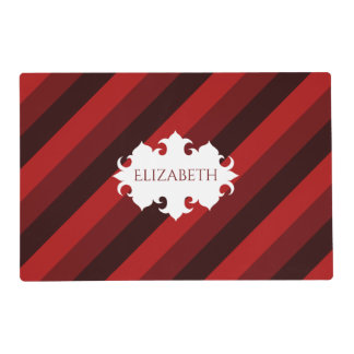Dark red Christmas striped name Placemat
