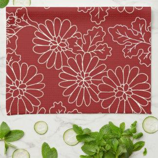 Dark Red Cream Floral Kitchen Cloth Towel