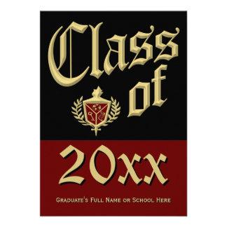 Dark Red Crest Graduation Announcement