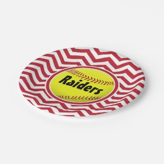 Dark Red Cute Softball Chevron Paper Plates
