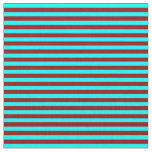 [ Thumbnail: Dark Red & Cyan Colored Stripes Fabric ]