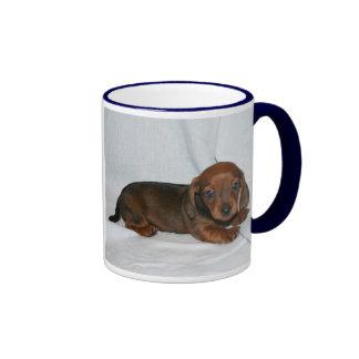 Dark Red Dachshund Puppy Ringer Coffee Mug