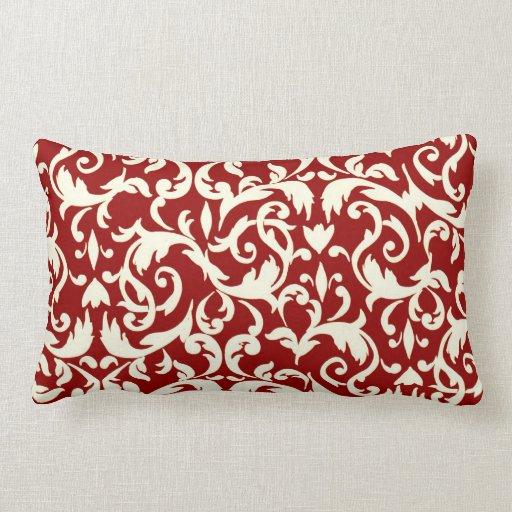 Red Design Throw Pillows : Dark Red Damask Lumbar Throw Pillow Decor Zazzle