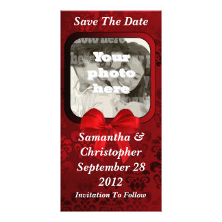 Dark red damask save the date wedding card