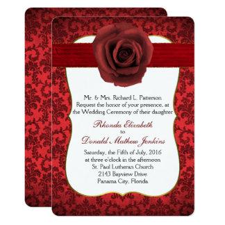 Dark Red Damask with Rose Wedding Invitation