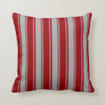 [ Thumbnail: Dark Red, Dark Gray, and Crimson Colored Stripes Throw Pillow ]