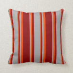 [ Thumbnail: Dark Red, Dark Gray & Red Colored Pattern Pillow ]