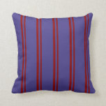 [ Thumbnail: Dark Red & Dark Slate Blue Stripes Throw Pillow ]