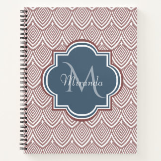 Dark Red Deco Scallops Navy Blue Monogram Name Notebook