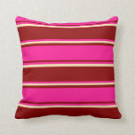 [ Thumbnail: Dark Red, Deep Pink & Beige Colored Lines Pattern Throw Pillow ]