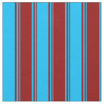 [ Thumbnail: Dark Red & Deep Sky Blue Colored Lines Fabric ]