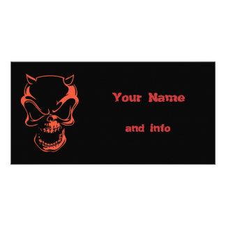 Dark Red Demon Skull Card