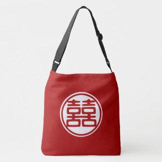 Dark Red Double Happiness | Round Crossbody Bag