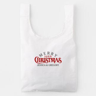 Dark Red Elegant Christmas Text Design Reusable Bag